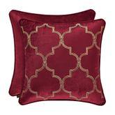 Maribella Embroidered Quatrefoil Pillow Ruby 18 Square