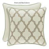 Vienna Embroidered Lattice Pillow Light Cream 18 Square