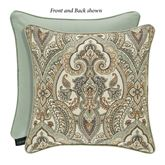 Vienna Damask Piped Pillow Multi Warm 18 Square