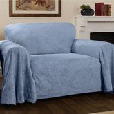 Elegant Damask Furniture Cover Cerulean Blue Loveseat
