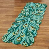 Peacock Flair Rug Runner Aqua 26 x 8