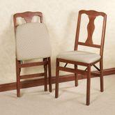 Queen Anne Folding Chair Pair  Pair