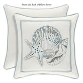 Waters Edge Embroidered Accent Pillow Off White 16 Square