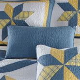 Sunny Star Quilted Pillow Federal Blue Rectangle