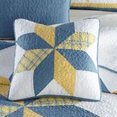 Sunny Star Patchwork Quilted Pillow Federal Blue 18 Square