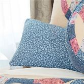 Michelle Floral Piped Pillow Federal Blue Rectangle