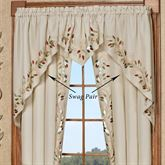 Scrolling Leaves Swag Valance Pair Oatmeal 60 x 38