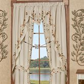 Scrolling Leaves Long Swag Valance Pair Oatmeal 60 x 63
