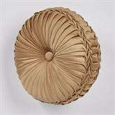 Monaco Pleated Tufted Pillow Gold Round