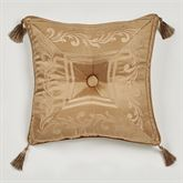 Monaco Tasseled Tufted Pillow Gold 18 Square