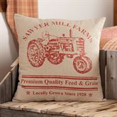 Sawyer Mill Red Tractor Tailored Pillow Dark Red 18 Square