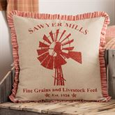 Sawyer Mill Red Windmill Flanged Pillow Dark Red 18 Square