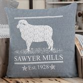 Sawyer Mill Blue Sheep Pillow Steel Blue 18 Square