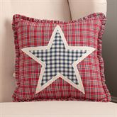 Hatteras Patch Ruffled Star Pillow Dark Red 12 Square