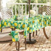 Lemon Orchard Zippered Oblong Tablecloth Aqua 60 x 84