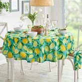 Lemon Orchard Round Tablecloth Aqua 70 Diameter
