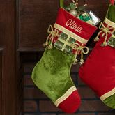 Green Christmas Present Stocking