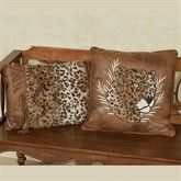 Serengeti Embroidered Leopard Pillow Multi Warm 18 Square
