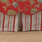 Jacobean Red Striped Kick Pleat Bedskirt Dark Red