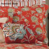 Jacobean Red Quilted Sham Dark Red Standard