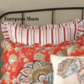Jacobean Red Striped Ruffled Sham Dark Red European