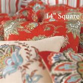 Jacobean Red Quilted Pillow Dark Red 14 Square