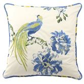 Floral Engagement Embroidered Pillow Blue 18 Square