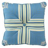 Floral Engagement Striped Tufted Pillow Blue 16 Square
