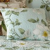 Blooming Magnolia Quilted Pillow Spring Green 12 Square