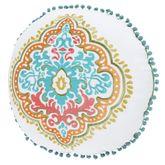 Jakarta Pompom Embroidered Pillow Multi Jewel Round