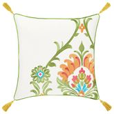 Panama Tasseled Embroidered Pillow Green 18 Square