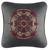Bridgeport Red Embroidered Piped Pillow Coffee 17 Square
