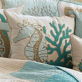 Saltwater Serenity Seahorse Pillow Ivory 18 Square