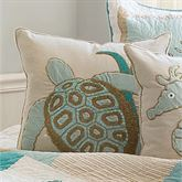Saltwater Serenity Sea Turtle Pillow Ivory 18 Square