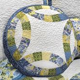 Arcadia Wedding Ring Patchwork Quilted Pillow White Round