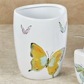 Watercolor Garden Butterfly Wastebasket White