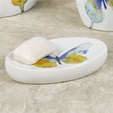Watercolor Garden Butterfly Soap Dish White