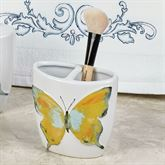 Watercolor Garden Butterfly Brush Holder White