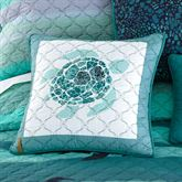 Summer Surf Quilted Turtle Pillow Multi Cool 16 Square