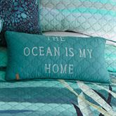 Summer Surf Quilted Ocean Pillow Multi Cool Rectangle