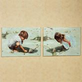 Shell Seekers Outdoor Canvas Set  Set of Two