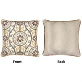 Izmir Medallion Corded Pillow Gray 17 Square