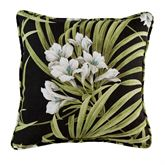 Jamaican Sunset Tropical Pillow Black 17 Square
