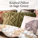 Glenwood Knitted Pillow Deep Sage 18 Square