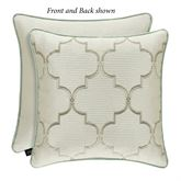 Genevieve Reversible Embroidered Lattice Pillow Ivory 18 Square