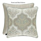 Genevieve Reversible Damask Piped Pillow Aqua Mist 20 Square