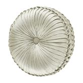 Genevieve Pleated Tufted Pillow Ivory Round