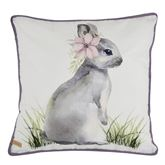 Forget Me Not Bunny Pillow White 18 Square