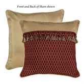 Roena Reversible Corded Sham Burgundy European