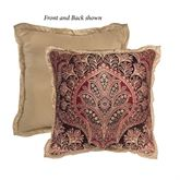 Roena Reversible Flanged Pillow Burgundy 18 Square